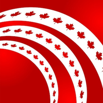 Canada day red background with ribbons