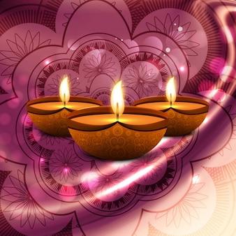 Candles on a pink mandala for diwali