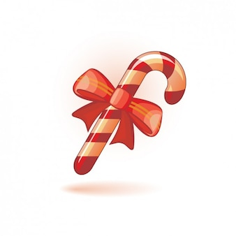 Candy Cane Icon with Ribbon