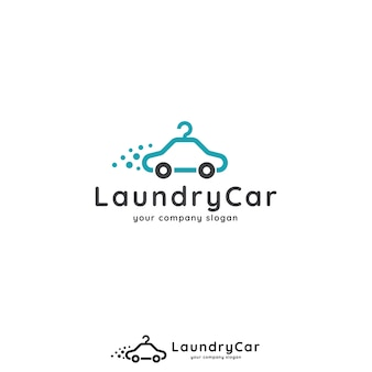 Car and hanger logo concept for car wash, laundry, app, business or services.