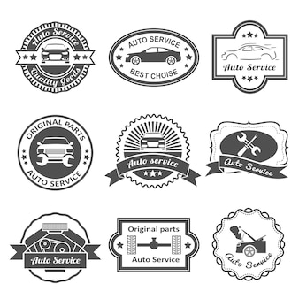 Car service labels collection