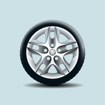 Car wheel isolated on clear background. Vector illustration