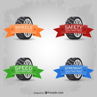 Car wheels logos with ribbons in different colors
