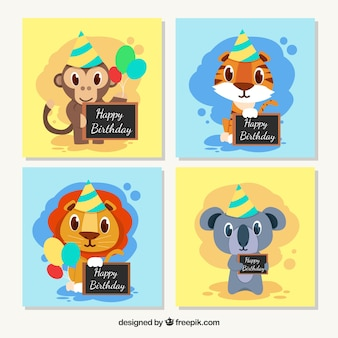 Card collection with animals celebrating birthday