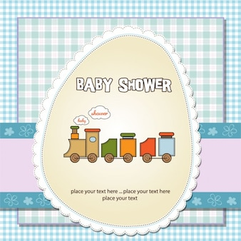 Card for baby shower with a train