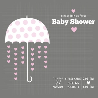 Card for baby shower with an umbrella and hearts