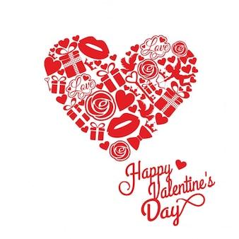 赤と白のバレンタインのためのカード