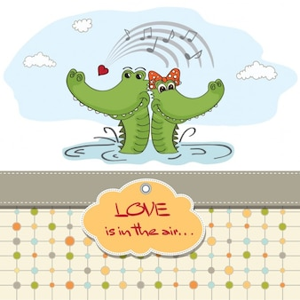Card for valentine with two crocodiles
