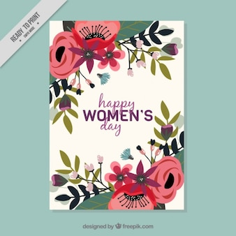 Card for women's day with flat flowers