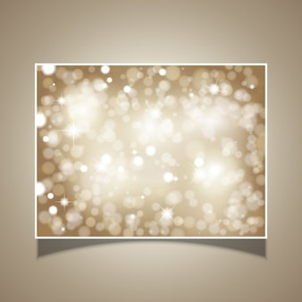 Card of glittery stars and bokeh lights
