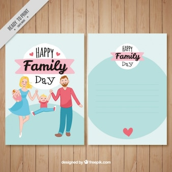 Card of hand drawn enjoyable family