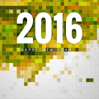 Card of New year 2016 with colorful mosaic