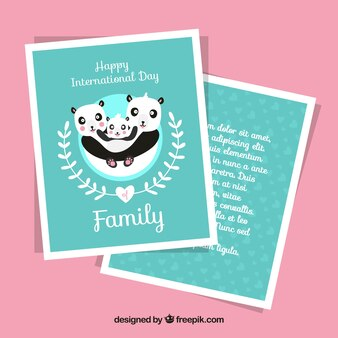 Card template with pandas for international family day