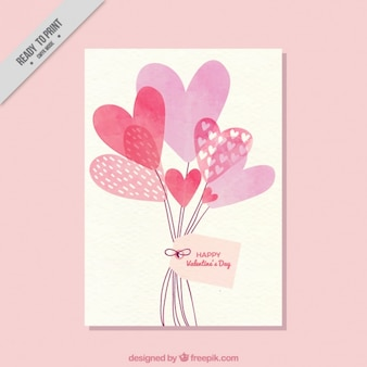 Card with balloons of watercolor hearts