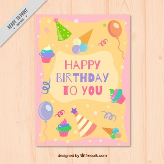 Card with birthday elements