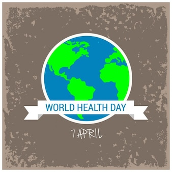 Card with globe of world healthy day