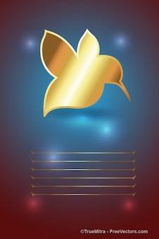 Card with golden bird