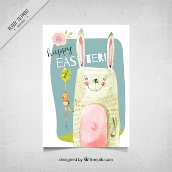 Card with lovely easter day watercolor bunny