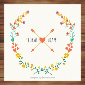 Card with vintage floral wreath