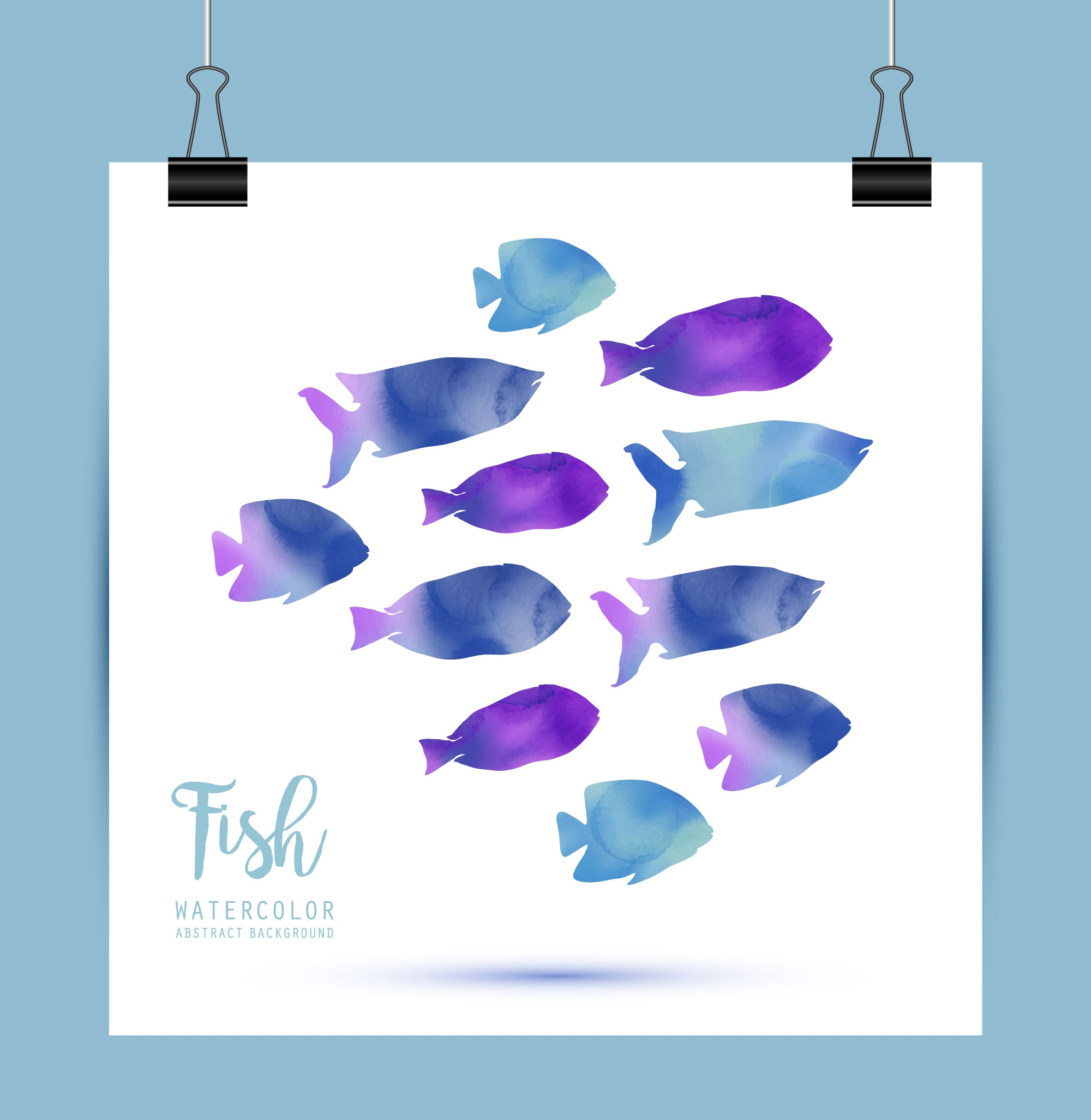 Card with watercolor fish