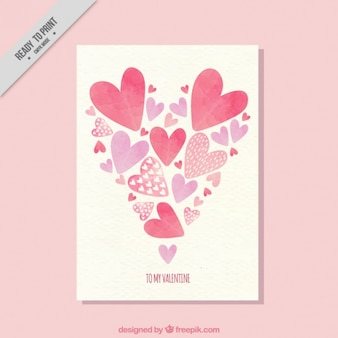 Card with watercolor hearts