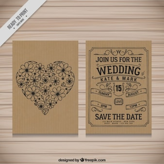 Cardboard wedding invitation design