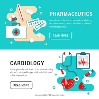 Cardiology and pharmaceutics banners