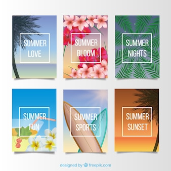 Cards for summer, realistic style