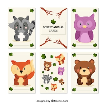 Cards pack of hand drawn little forest animals