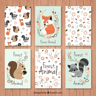 Cards set beautiful forest animals with floral details