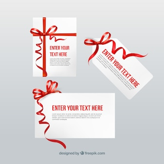 Cards template with red ribbons