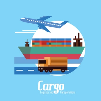 Cargo, Logistics and transportation. flat design elements. vector illustration