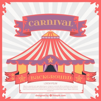 Carnival background with colorful marquee in flat design