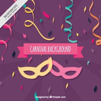 Carnival background with masks and serpentine