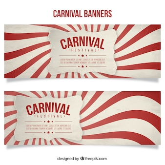 Carnival banners with red and white wavy shapes