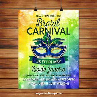 Carnival bokeh poster with mask
