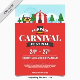 Carnival brochure with funfair in flat design