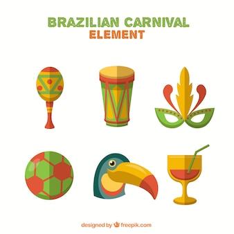 Carnival elements of brazil set