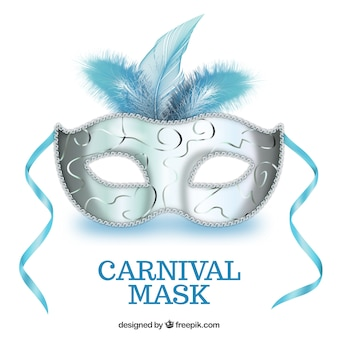 Carnival mask in blue and silver tones