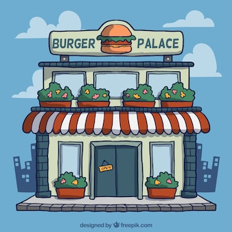 Cartoon burguer bar facade