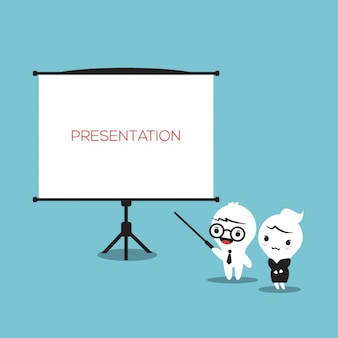Cartoon business characters in a presentation