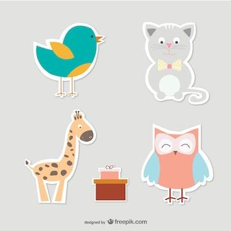 Cartoon cat, bird, owl and giraffe