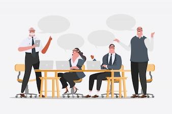 漫画のキャラクターデザインのイラスト。ビジネスチームの会議の交換のアイデア