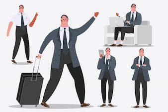 漫画のキャラクターデザインのイラスト。手荷物、挨拶、およびコンピュータのラップトップを表示する実業家。
