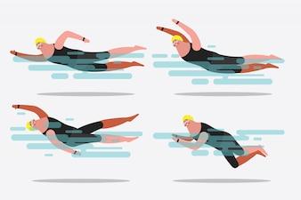 Cartoon character design illustration. Show various swimming postures.