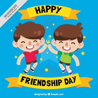 Cartoon children celebrating friendship day background