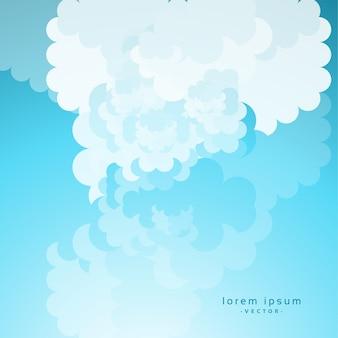 青空の背景に漫画の雲