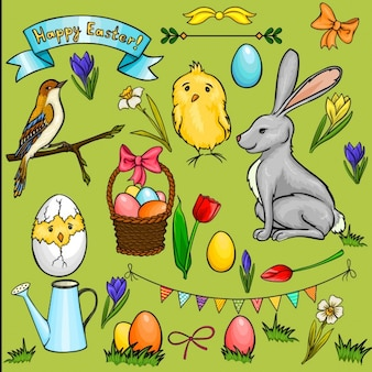Cartoon collection about easter day