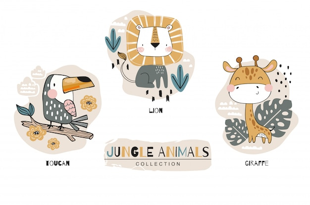 Cartoon cute baby animal characters collection. jungle set. icon hand drawn design illustration