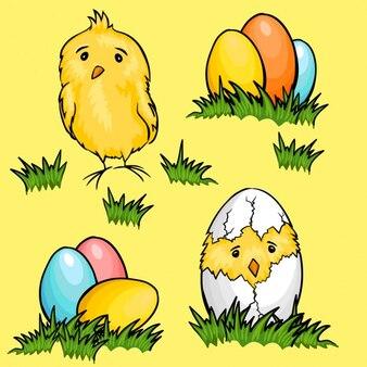 Cartoon easter eggs